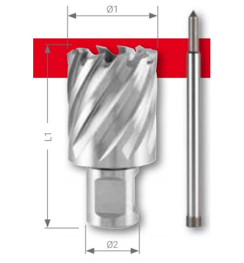 """Weldon Manyetik Matkap Uçları (3/4"""") HSS CBN Bilenmiş, Kesme Derinliği 30,0 / 55,0 mm"""