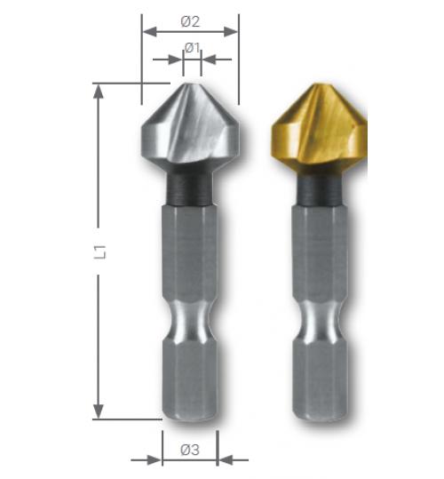 Bit Sistem 90° Havşa Frezeleri, Uzun Tip HSS ve HSS-TiN